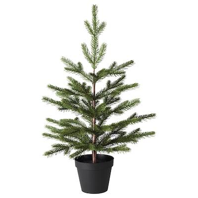 VINTER 2020 Plante artificielle en pot, intérieur/extérieur/sapin de Noël vert, 12 cm