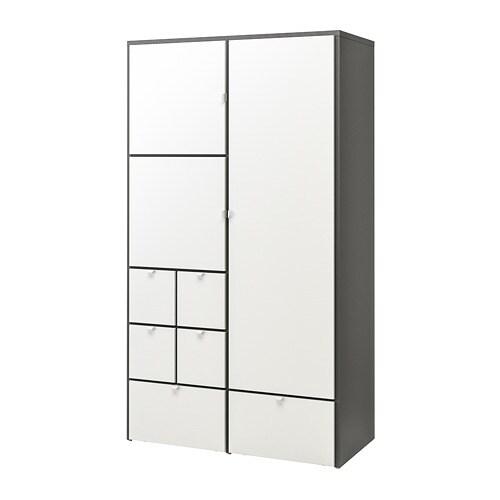 Visthus Armoire Penderie Gris Blanc 122 X 59 X 216 Cm Ikea