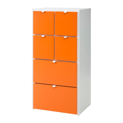 Visthus Commode 6 Tiroirs Blanc Orange 63 X 126 Cm Ikea
