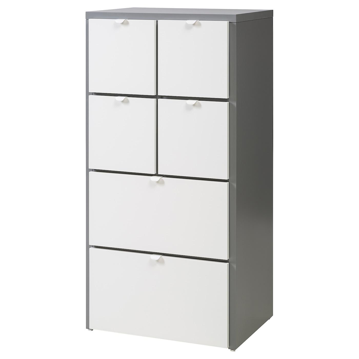 visthus commode 6 tiroirs gris blanc 63x126 cm ikea. Black Bedroom Furniture Sets. Home Design Ideas