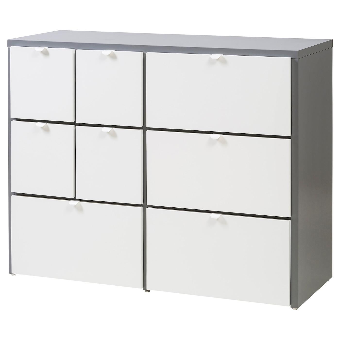 visthus commode 8 tiroirs gris blanc 122x96 cm ikea. Black Bedroom Furniture Sets. Home Design Ideas