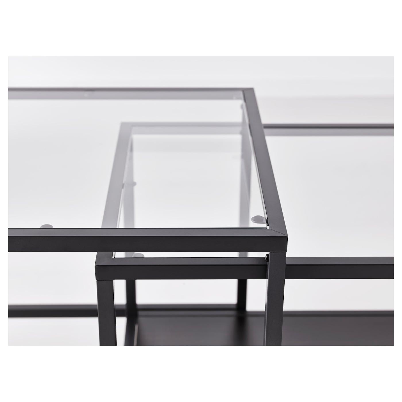 Vittsj tables gigognes lot de 2 brun noir verre 90x50 cm - Table gigogne verre ikea ...