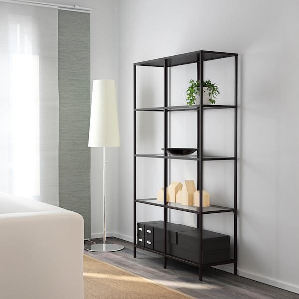 VITTSJÖ Étagère, brun noir/verre, 100x175 cm