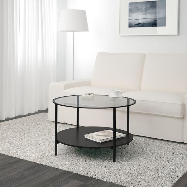 VITTSJÖ Table basse, brun noir/verre, 75 cm