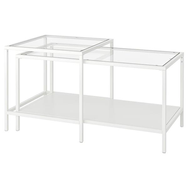 VITTSJÖ Tables gigognes, lot de 2, blanc/verre, 90x50 cm