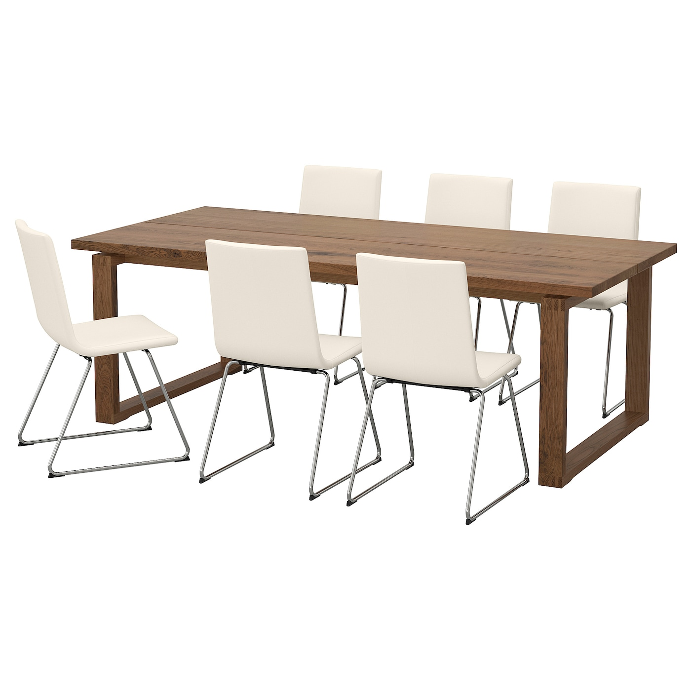 Volfgang m rbyl nga table et 6 chaises brun bomstad blanc for Table et 6 chaises ikea
