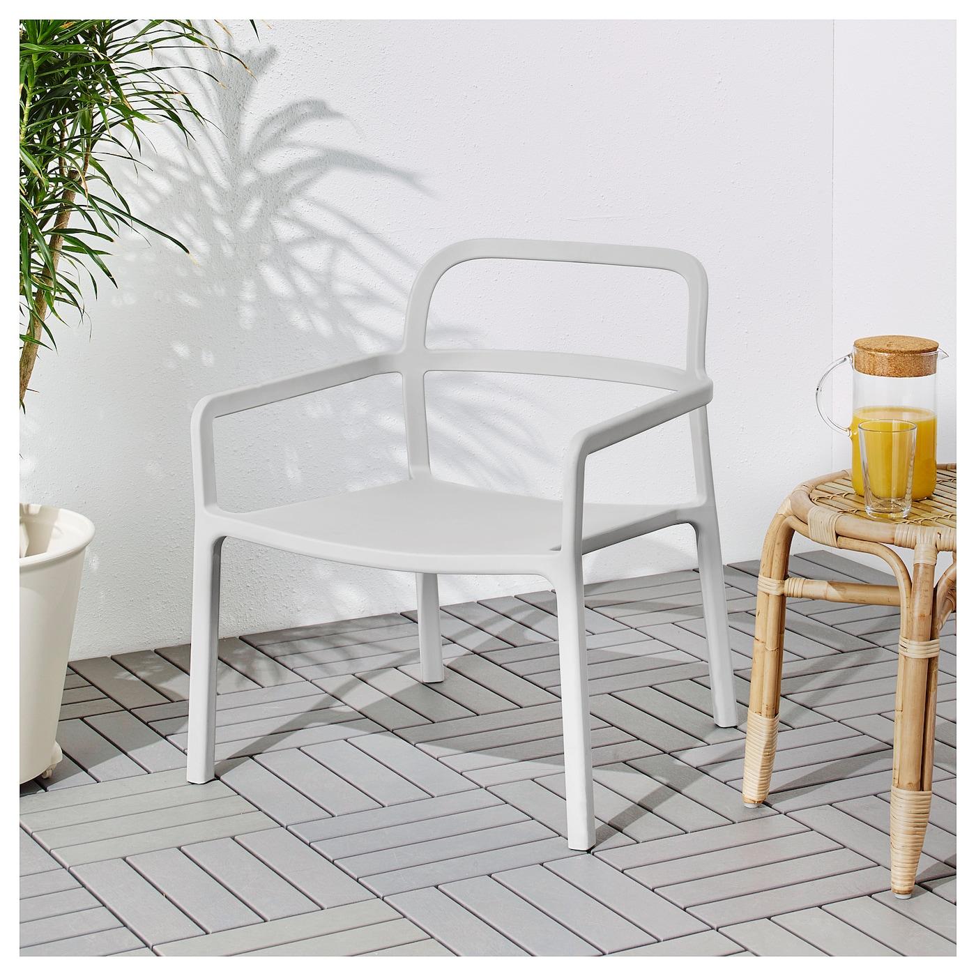 Ypperlig fauteuil int ext rieur gris clair ikea for Fauteuil exterieur gris