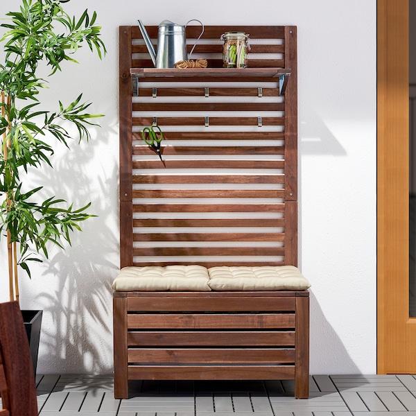 ÄPPLARÖ Bank m wandpaneel+plank, buiten, bruin gelazuurd, 80x44x158 cm