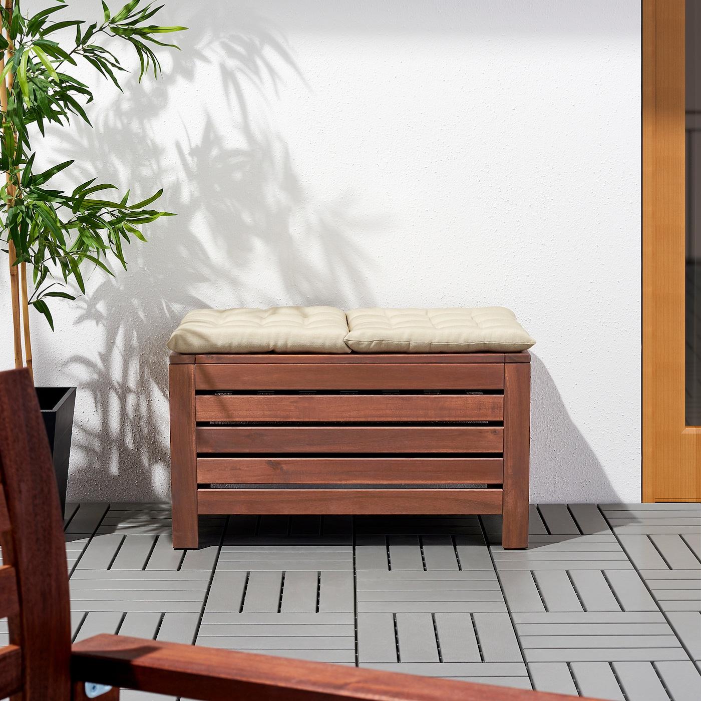 ÄPPLARÖ Bank met opbergruimte, buiten, bruin gelazuurd, 80x41 cm