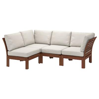 ÄPPLARÖ Modulaire hoekbank, 3-zits, buiten, bruin gelazuurd/Frösön/Duvholmen beige, 143/223x80x84 cm