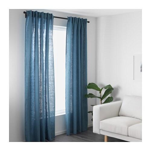AINA Gordijnen, 1 paar Blauw 145 x 300 cm - IKEA
