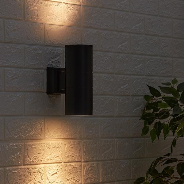 ALLARP Wandlamp, buiten zwart, 23 cm