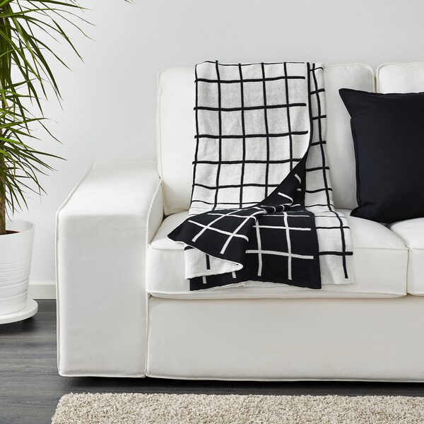 ALMALIE Plaid, zwart/wit, 130x170 cm