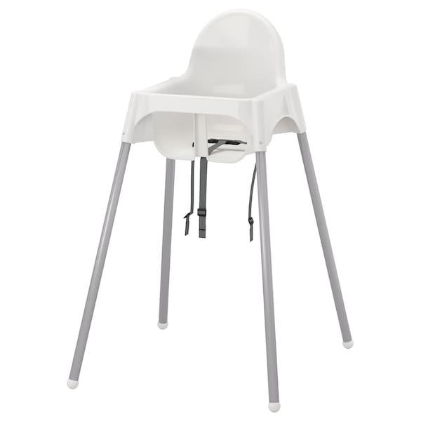 Ikea Eetkamer Stoelhoezen.Antilop Kinderstoel Met Veiligheidsriempje Wit Zilverkleur Ikea
