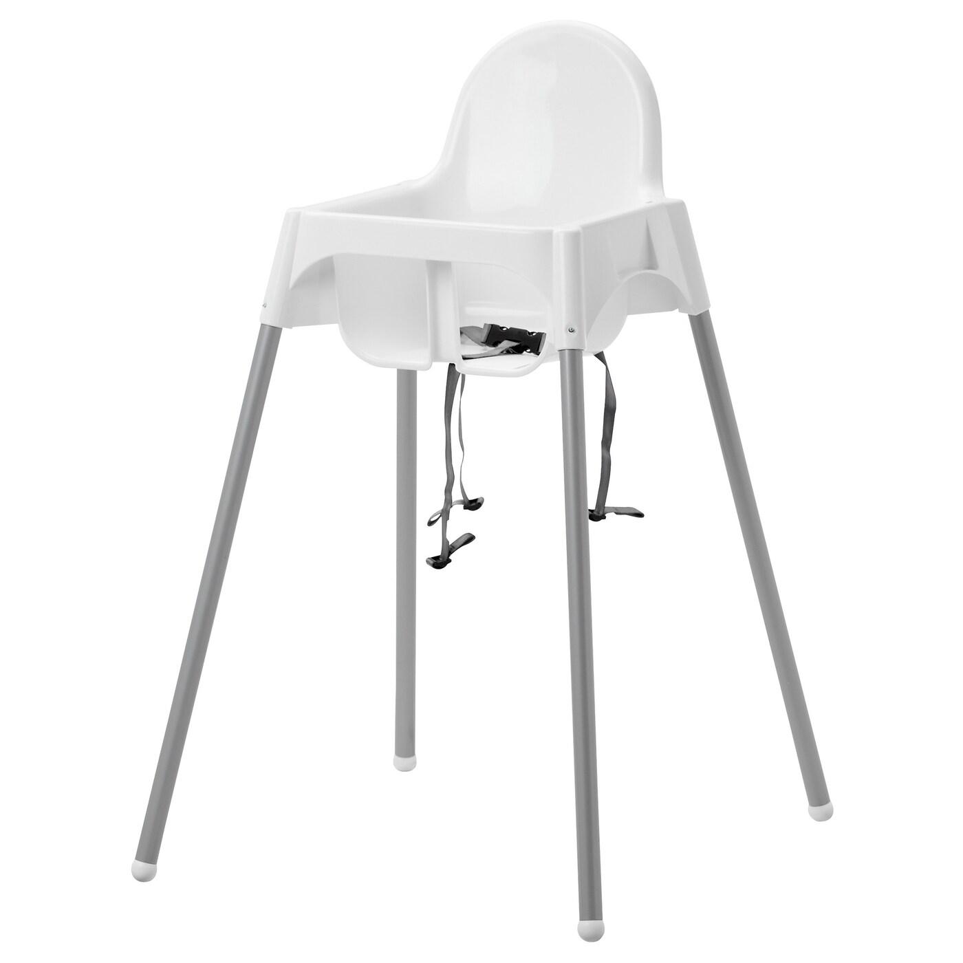 Antilop kinderstoel met veiligheidsriempje wit zilverkleur for Ikea kinderstoel en tafel