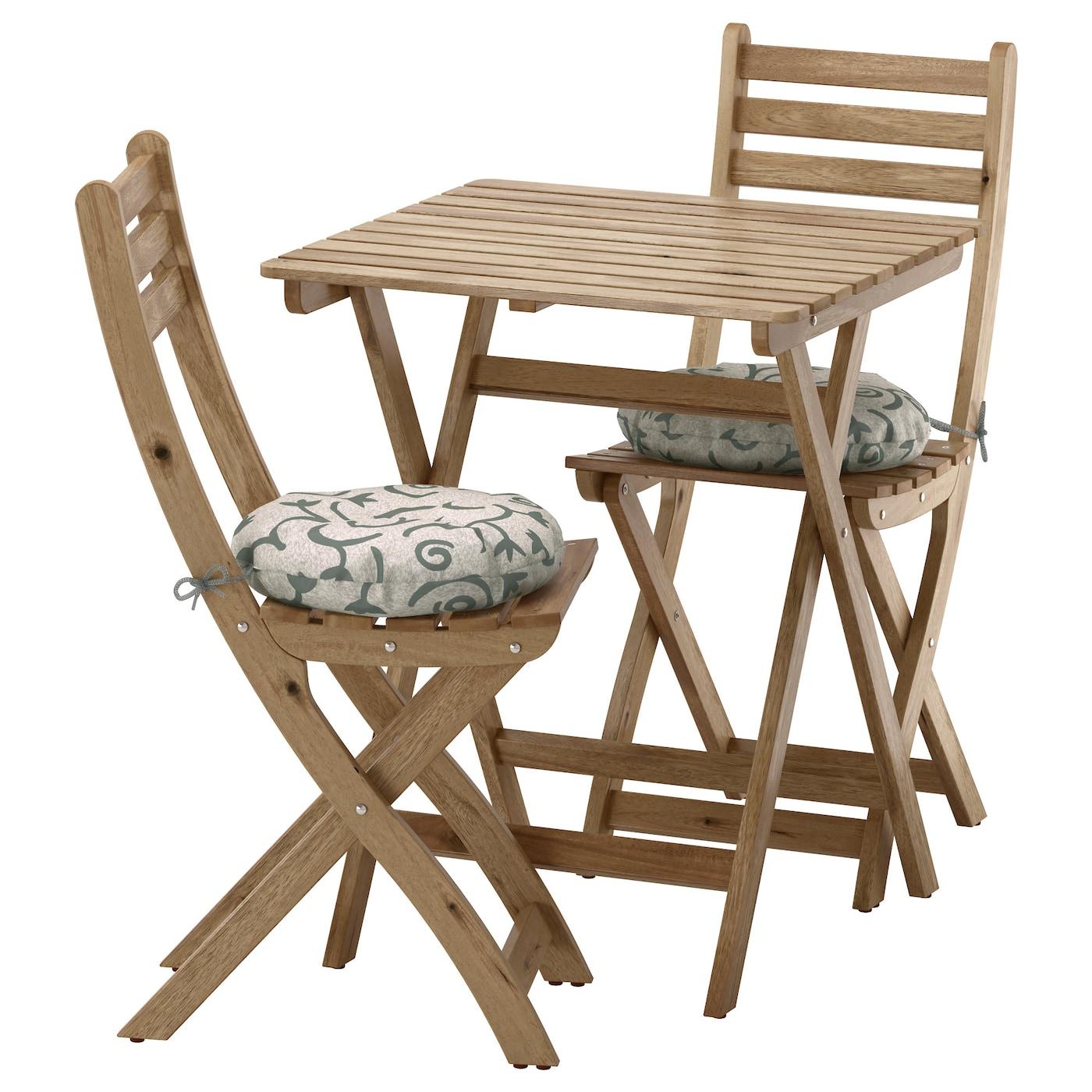 Askholmen tafel 2 stoelen buiten grijsbruin gelazuurd for Stoelen voor buiten