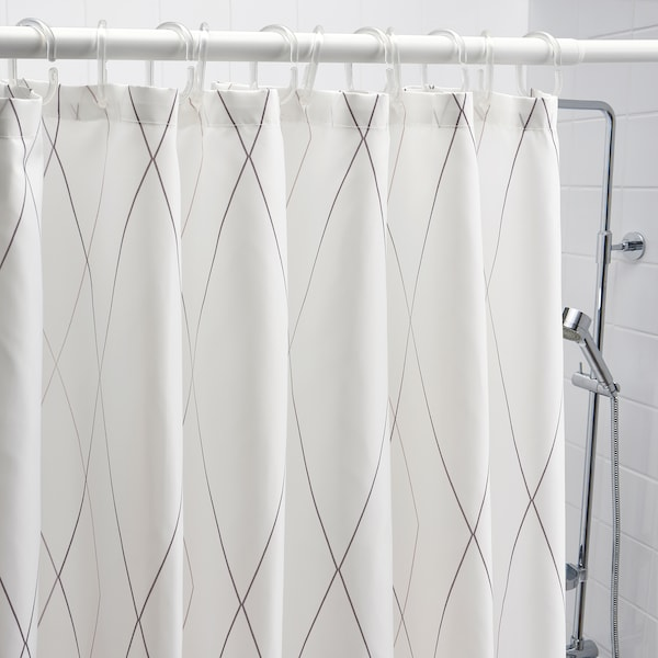 BASTSJÖN Douchegordijn, wit/grijs/beige, 180x200 cm