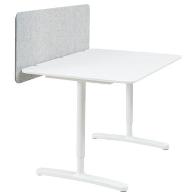 BEKANT Bureau met afscherming, wit/grijs, 120x80 48 cm