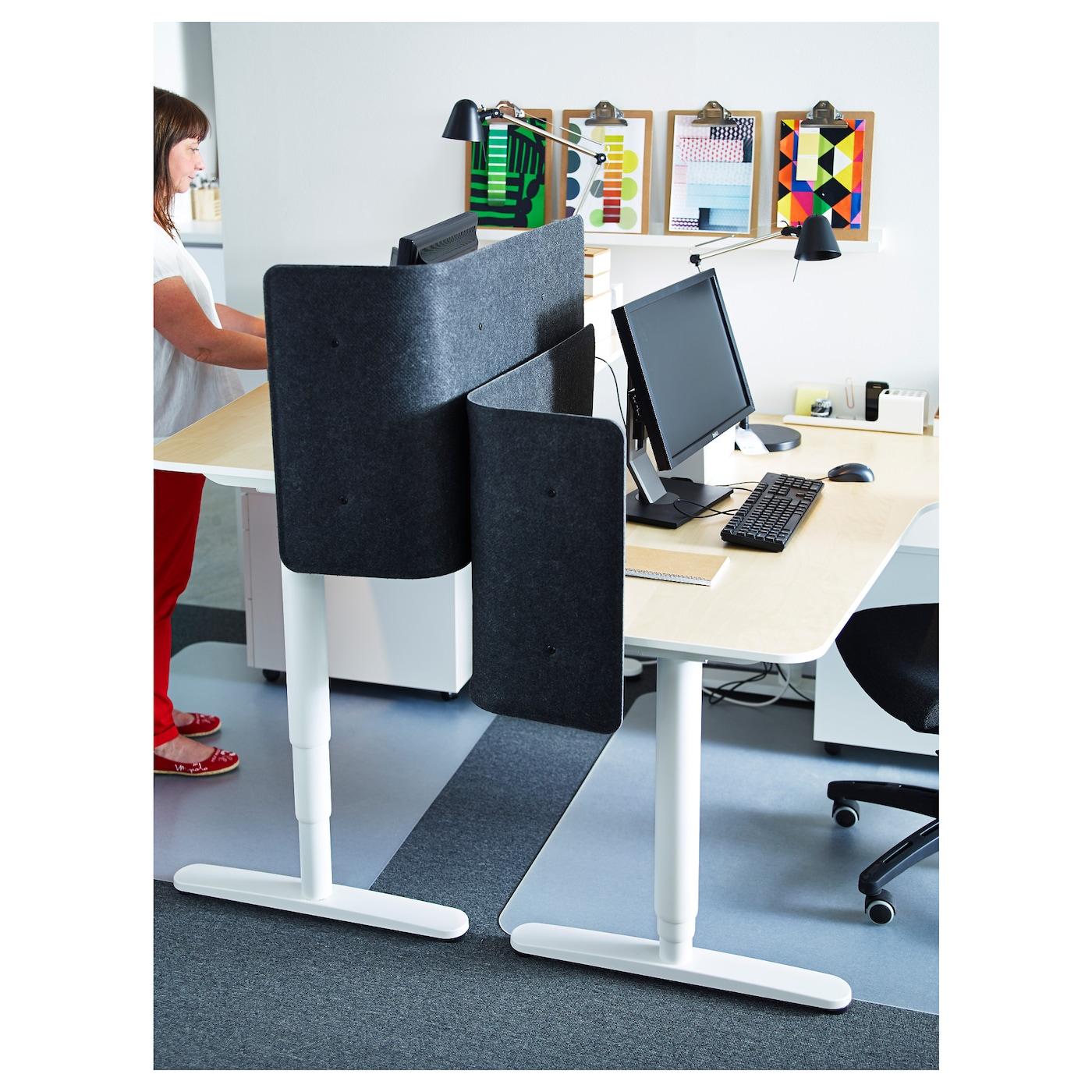 Bekant bureau zit sta berkenfineer wit 160 x 80 cm ikea for Ikea bekant coin bureau