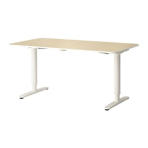 Bekant Bureau Zit Sta Berkenfineer Wit Ikea