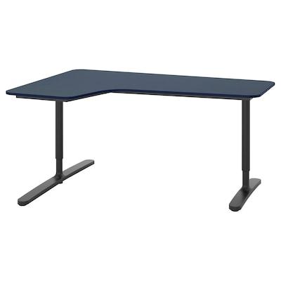 BEKANT Hoekbureau links, linoleum blauw/zwart, 160x110 cm