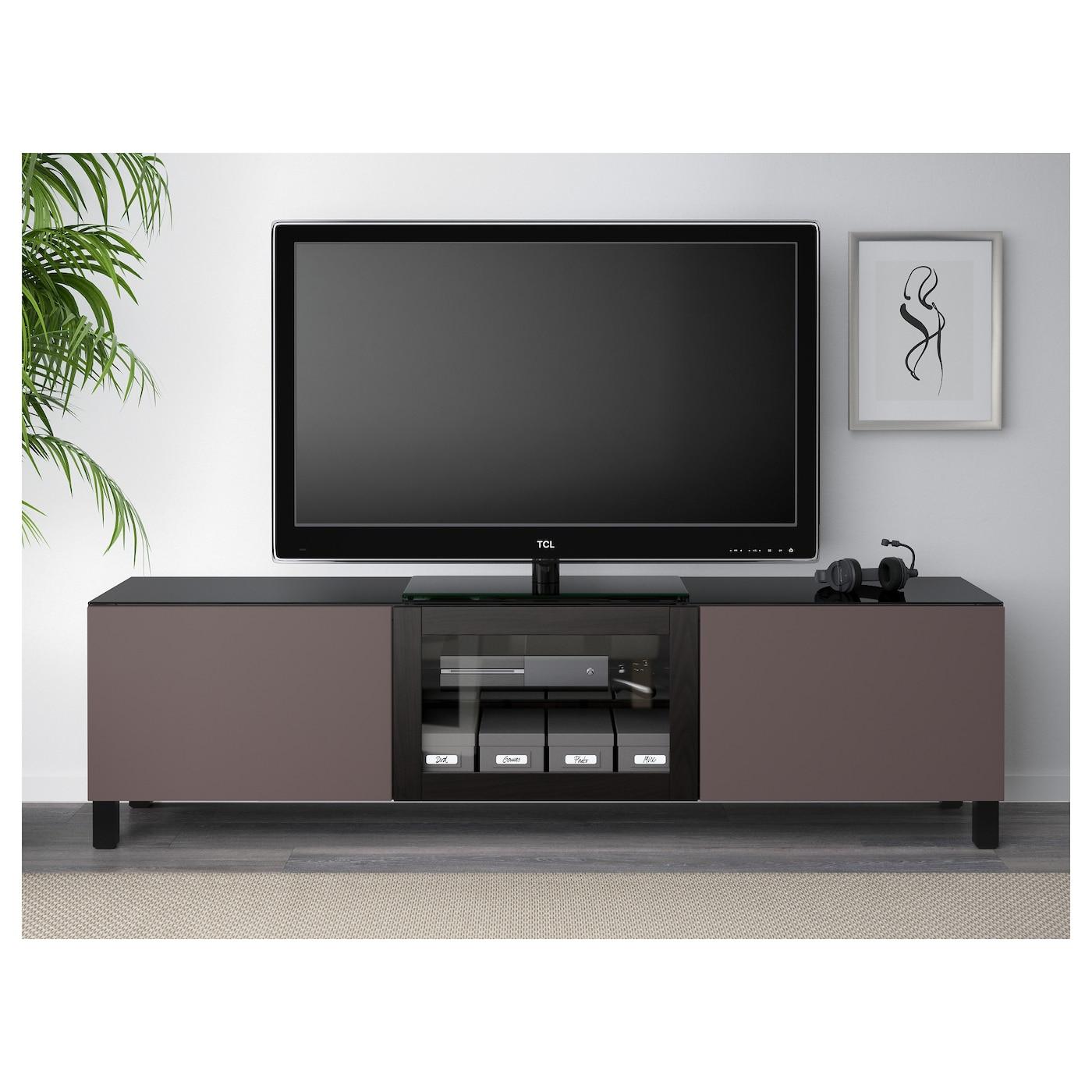 Best tv meubel met deuren zwartbruin valviken donkerbruin for Tv meubel glas
