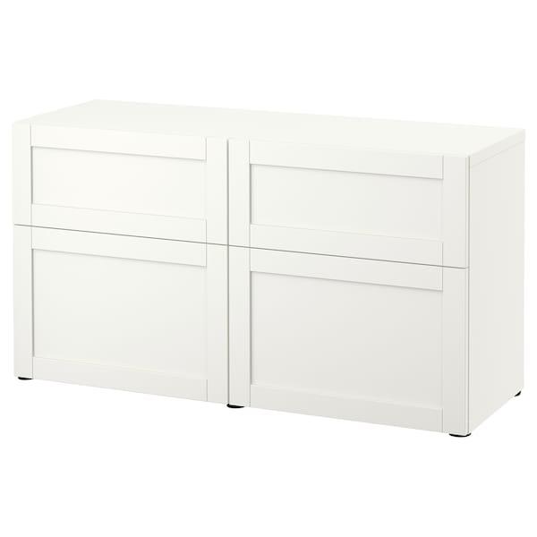 BESTÅ Opbergcombi met deuren/lades, wit/Hanviken wit, 120x42x65 cm