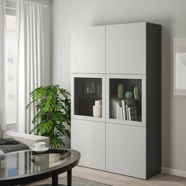 BESTÅ Opbergcombinatie met glazen deuren, zwartbruin/Lappviken lichtgrijs helder glas, 120x40x192 cm