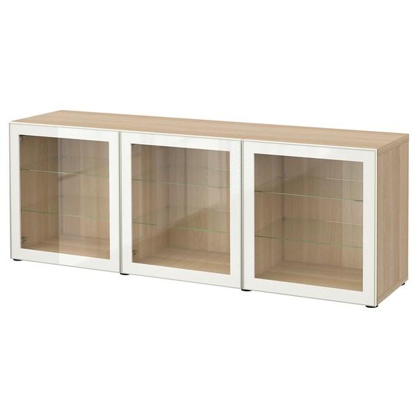 BESTÅ Opberger met deuren, wit gelazuurd eikeneffect/Glassvik wit helder glas, 180x42x65 cm
