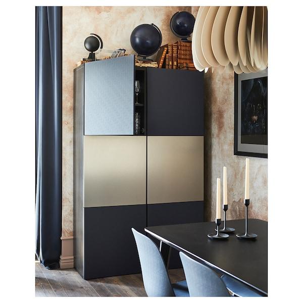 BESTÅ Opberger met deuren, zwartbruin Riksviken/Notviken blauw, 120x42x192 cm