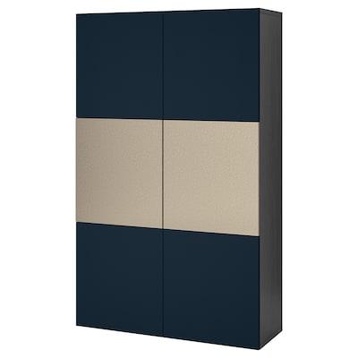 BESTÅ opberger met deuren zwartbruin Riksviken/Notviken blauw 120 cm 42 cm 192 cm