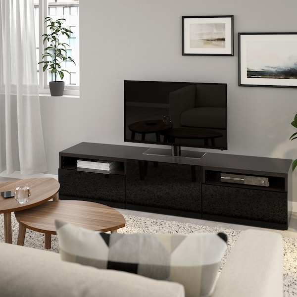 Ikea Boekenkast Tv Meubel.Besta Tv Meubel Zwartbruin Selsviken Hoogglans Zwart Ikea
