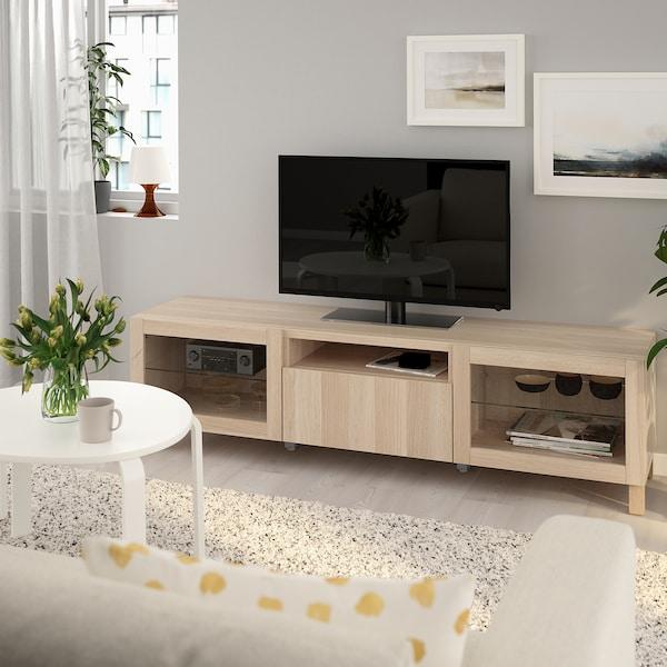 Ikea Boekenkast Tv Meubel.Besta Tv Meubel Lappviken Wit Gelazuurd Eikeneffect Lappviken