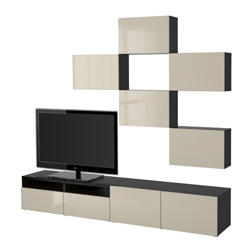 best tv meubel combi zwartbruin selsviken hoogglans. Black Bedroom Furniture Sets. Home Design Ideas
