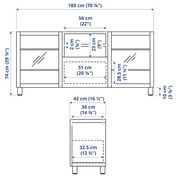 BESTÅ Tv-meubel met lades, wit/Smeviken/Kabbarp wit helder glas, 180x42x74 cm