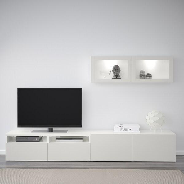BESTÅ Tv-opbergcombi/vitrinedeuren, wit Lappviken/lichtgrijs helder glas, 240x20/40x166 cm