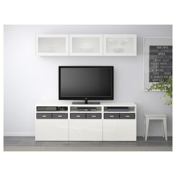 BESTÅ Tv-opbergcombi/vitrinedeuren, wit/Selsviken hoogglans/wit frosted glas, 180x40x192 cm