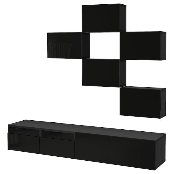 Ikea Tv Meubel.Besta Tv Meubel Combi Zwartbruin Selsviken Hoogglans Zwart Ikea