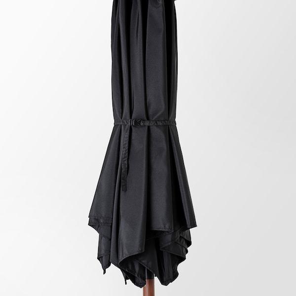 BETSÖ / LINDÖJA Parasol met voet, bruin houtpatroon zwart/Grytö, 300 cm