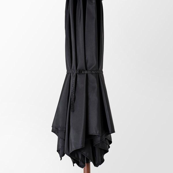 BETSÖ / LINDÖJA Parasol met voet, bruin houtpatroon zwart/Huvön, 300 cm