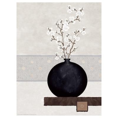 BILD Poster, tak met witte bloemen, 30x40 cm