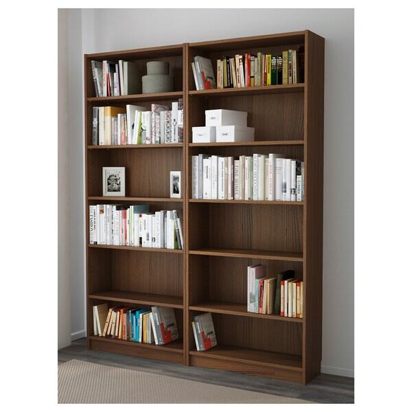 BILLY Boekenkast, bruin essenfineer, 160x28x202 cm