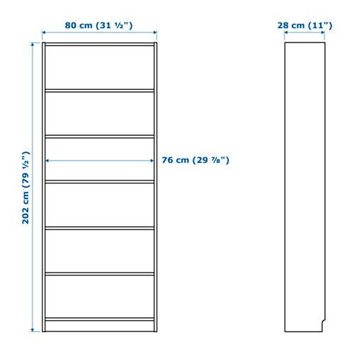BILLY Boekenkast Wit 80 x 28 x 202 cm - IKEA