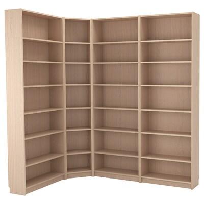 BILLY Boekenkastcombi m hoekoplossing, wit gelazuurd eikenfineer, 215/135x28x237 cm