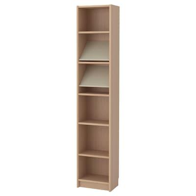 BILLY / BOTTNA Boekenkast met displayplank, wit gelazuurd eikenfineer/beige, 40x28x202 cm