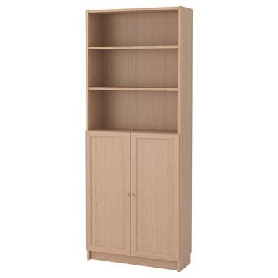BILLY / OXBERG Boekenkast met deuren, wit gelazuurd eikenfineer, 80x30x202 cm