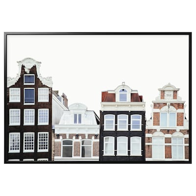 BJÖRKSTA Foto met lijst, Amsterdamse gebouwen/zwart, 200x140 cm