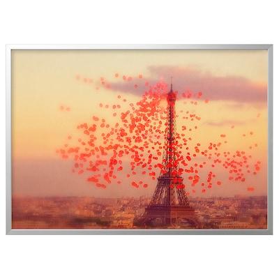 BJÖRKSTA Foto met lijst, Eiffeltoren/aluminiumkleur, 140x100 cm
