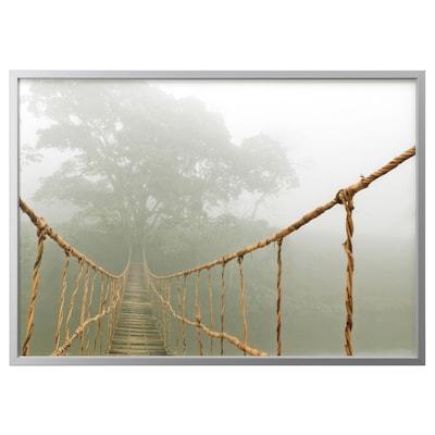 BJÖRKSTA Foto met lijst, junglereis/aluminiumkleur, 140x100 cm