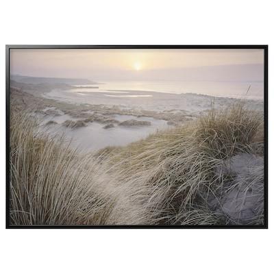 BJÖRKSTA Foto met lijst, kust bij zonsopgang/zwart, 200x140 cm